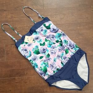Marina West Purple Floral Swimsuit NWT Size 10